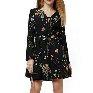 Topshop Floral Belted Dress Long Sleeve A-Line